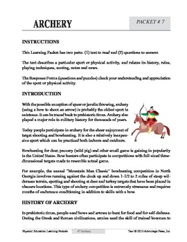 Archery: An Academic Learning Packet