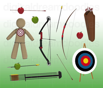 Archery Clipart - Archer's Bow and Arrow Digital Graphics