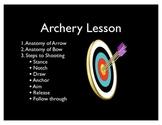 Archery Lesson and Score Card