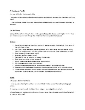 Archery Rules and Procedures Lesson Plan (Day #1)