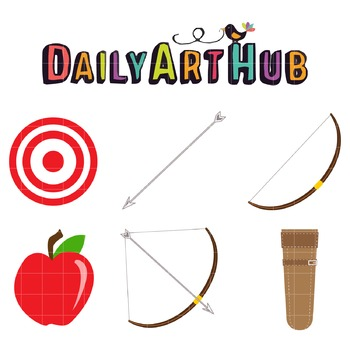 Archery Starter Pack Clip Art - Great for Art Class Projects!