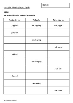 Archie: No Ordinary Sloth by Heath McKenzie - 6 Worksheets / Activities