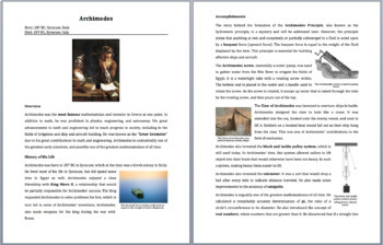 Archimedes - A Famous Scientist Reading