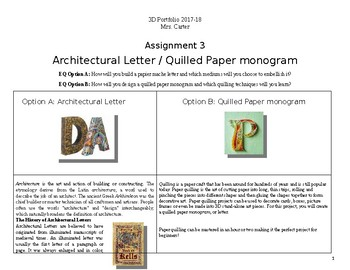 Architectural Letter or Quilled Paper Monogram