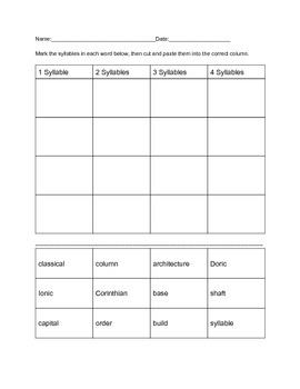 Architecture Syllable Sort