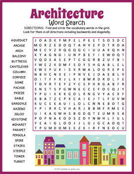 architecture word search puzzle by puzzles to print tpt. Black Bedroom Furniture Sets. Home Design Ideas
