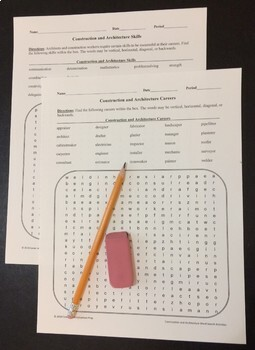 Architecture and Construction Careers and Skills Word Search Activities