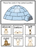 Arcitc Animals themed Positional Word Game. Printable Preschool Game