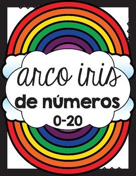 Arco iris de números 0-20 / Rainbow Numbers 0-20 in Spanish