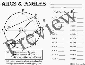 Arcs & Angles Worksheet