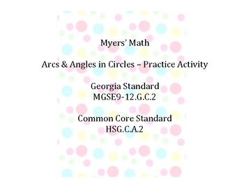 Arcs & Angles in Circles Practice Activity