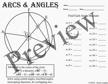 Arcs & Angles v2,  worksheet