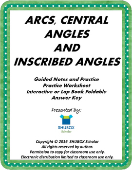 Arcs, Central Angles and Inscribed Angles for HS Students by SHUBOX ...