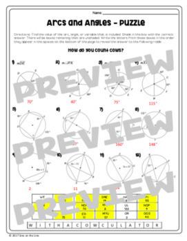 Arcs and Angles (Circle Theorems) - Puzzle Worksheet