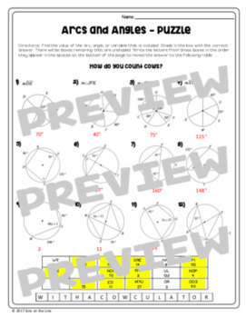 arcs and angles circle theorems puzzle worksheet by mrs castro 39 s class. Black Bedroom Furniture Sets. Home Design Ideas