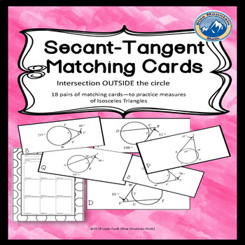 Arcs and Angles Formed by Secant-Tangents Matching Card Set