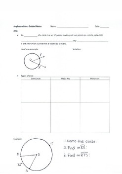Arcs and Angles Guided Notes