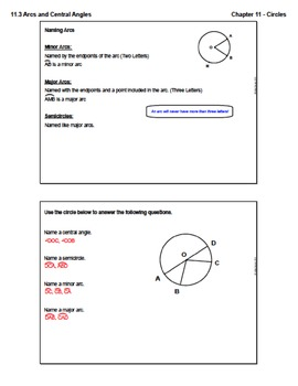 Arcs and Central Angles (Lesson with Homework)