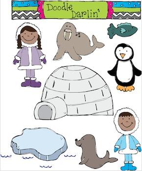 Arctic Advenures COLOR ONLY Clipart Set