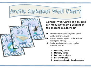 Arctic Animal Alphabet Wall Chart for Decoration or for Class Activities