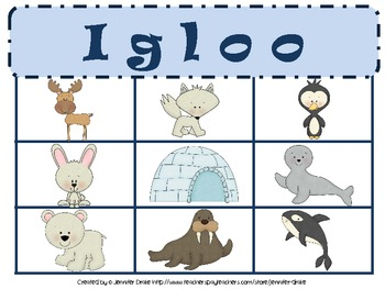 Arctic Animal BINGO! ~6 Full Color & 6 B&W Playing Cards Plus Calling Cards!~