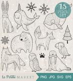Arctic Animal Clip Art Set, Fox Polar Bear Walrus Owl Clip Art, Vector Clipart