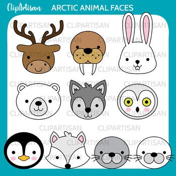 Arctic Animal Faces Clip Art, Polar Animals Printable