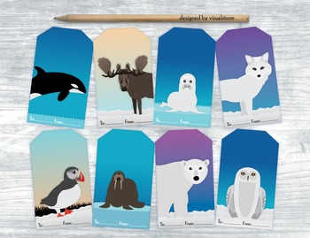 Arctic Animal Gift Tags - 8 Handmade Winter Hang Tags For Holidays and Birthdays