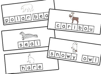 Arctic Animal Letter Tile Cards