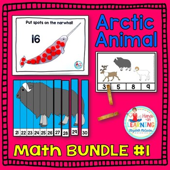 Arctic Animal Math Bundle #1 - Three Math Centers for Early Learners