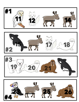 Arctic Animal Number Lines to 30
