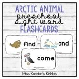 Arctic Animal Preschool Sight Words Flash Cards - PreK Literacy Center Games