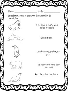 Arctic Animal Reading Activities (Penguin/polar bear)