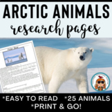 Arctic Animal Research Pages for Early Readers - 24 Animals
