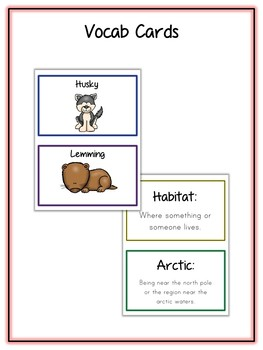 Arctic Animal Research Project - 18 Types, Vocab Cards, Packet, Book  + More!