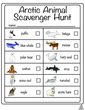 Arctic Animal Literacy Center and Arctic Animal Scavenger Hunt