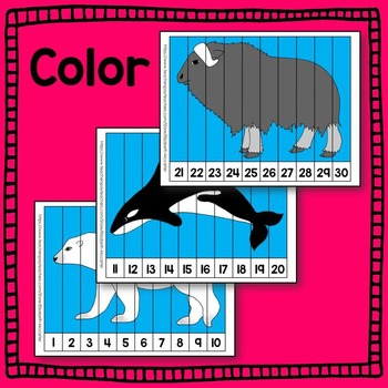 Arctic Animal Counting Puzzle Math Center