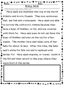 Arctic Animals 3 - Close Reading and Creature Reports