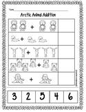 Arctic Animals Addition Cut and Paste 1-10