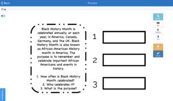 Black History Month Auditory Processing, WH Questions, Memory Recall Skills (20)