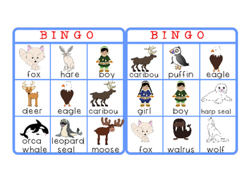 Arctic Animals - Bingo - FREE