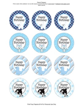 Winter Arctic Animals Birthday Pencil Toppers