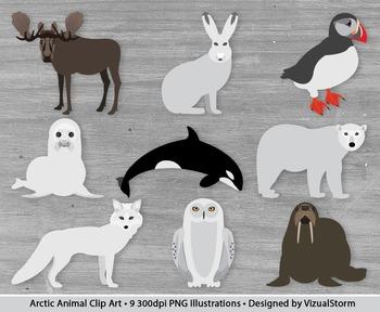 Arctic Animal Clipart - 9 Hand Drawn Antarctic Mammals Clip Art Set