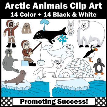 Arctic Animals Clipart, Eskimo, Igloo, Seal, Pengiun SPS
