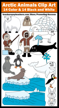 Arctic Animals Clip Art, Eskimo, Igloo, Seal, Polar Bear Penguin Clipart SPS