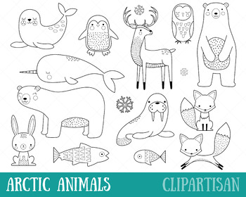 Arctic Animals Clip Art, Coloring Activity
