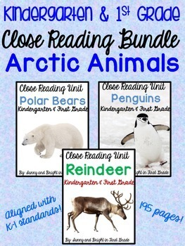 Arctic Animals Nonfiction Close Reading BUNDLE for Kindergarten and First Grade