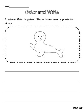 Arctic Animals Color and Write Sheets