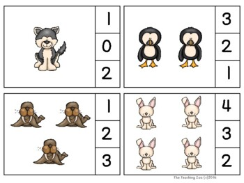 Arctic Animals Count & Clip Numbers 1- 30 Task Cards
