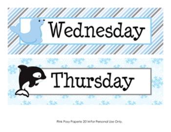 Winter Arctic Animals Days of the Week Calendar Headers